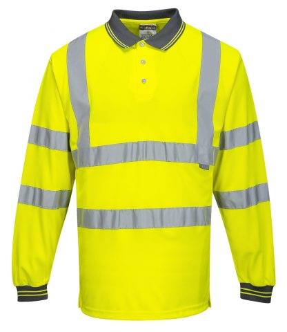 Portwest S277 High Visibility Long Sleeve Safety Polo, Yellow, Front