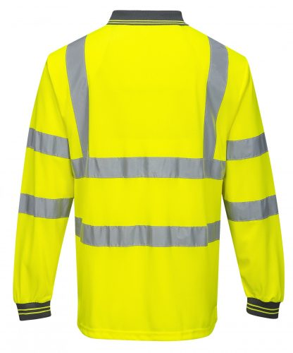 Portwest S277 High Visibility Long Sleeve Safety Polo, Yellow, Rear