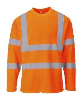 Portwest S278 High Visibility Cotton Comfort Long Sleeve T-shirt, Orange, Front