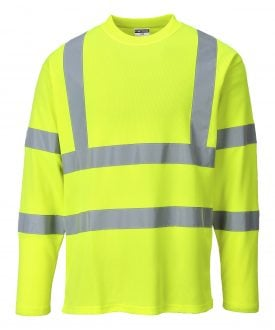 Portwest S278 High Visibility Cotton Comfort Long Sleeve T-shirt, Yellow, Front