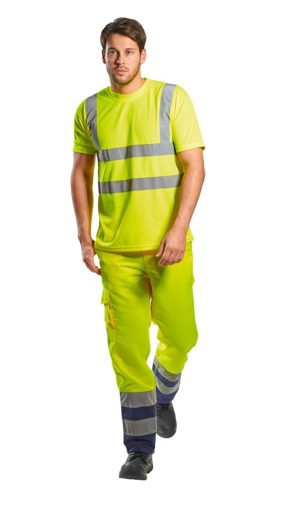Portwest US478 High Visibility T-shirt, Yellow, Onbody 3