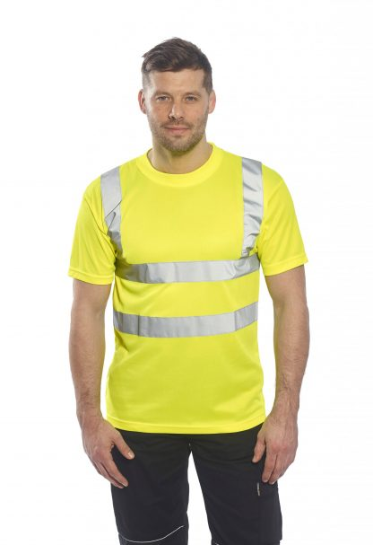 Portwest US478 High Visibility T-shirt, Yellow, Onbody 1