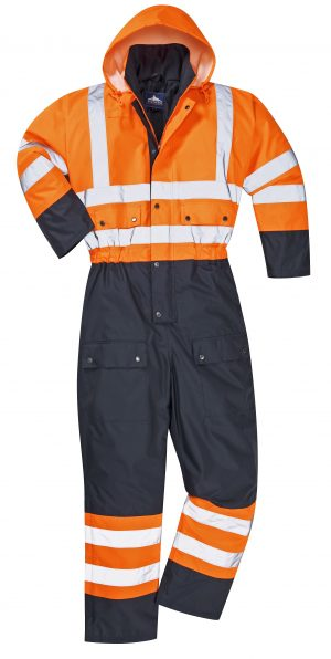 Portwest S485 High Visibility Contrast Coverall Snow Suit, Orange, Front