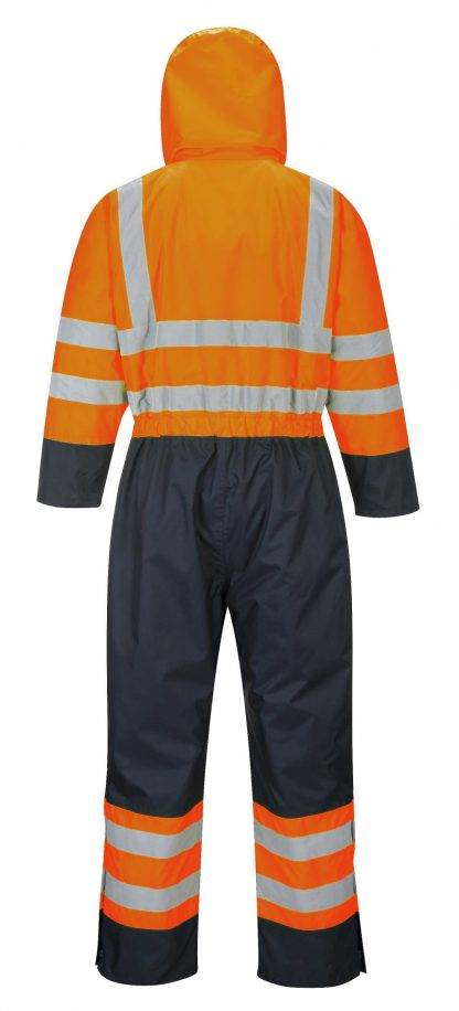 Portwest S485 High Visibility Contrast Coverall Snow Suit, Orange, Rear