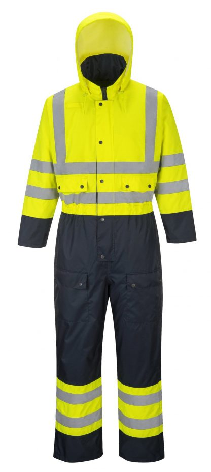Portwest S485 High Visibility Contrast Coverall Snow Suit, Open 2