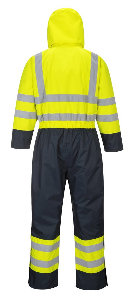 Portwest S485 High Visibility Contrast Coverall Snow Suit, Back