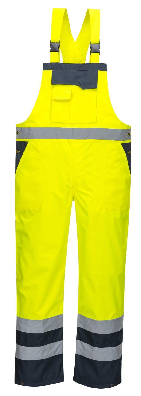 Portwest S488 Contrast Rain Bib, Yellow, Front