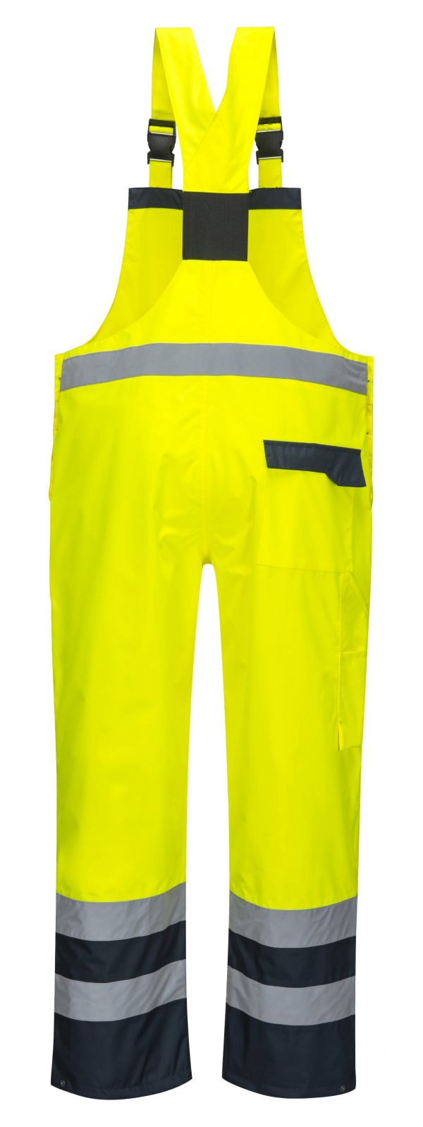 Portwest S488 Contrast Rain Bib, Yellow, Rear