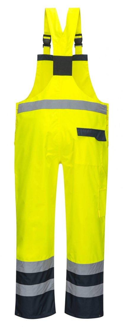 Portwest S488 Contrast Rain Bib, Yellow, Rear