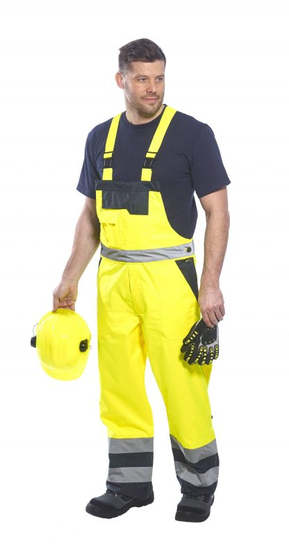 Portwest S489 Thermal Lined High Visibility Snow Bib, Onbody, 1