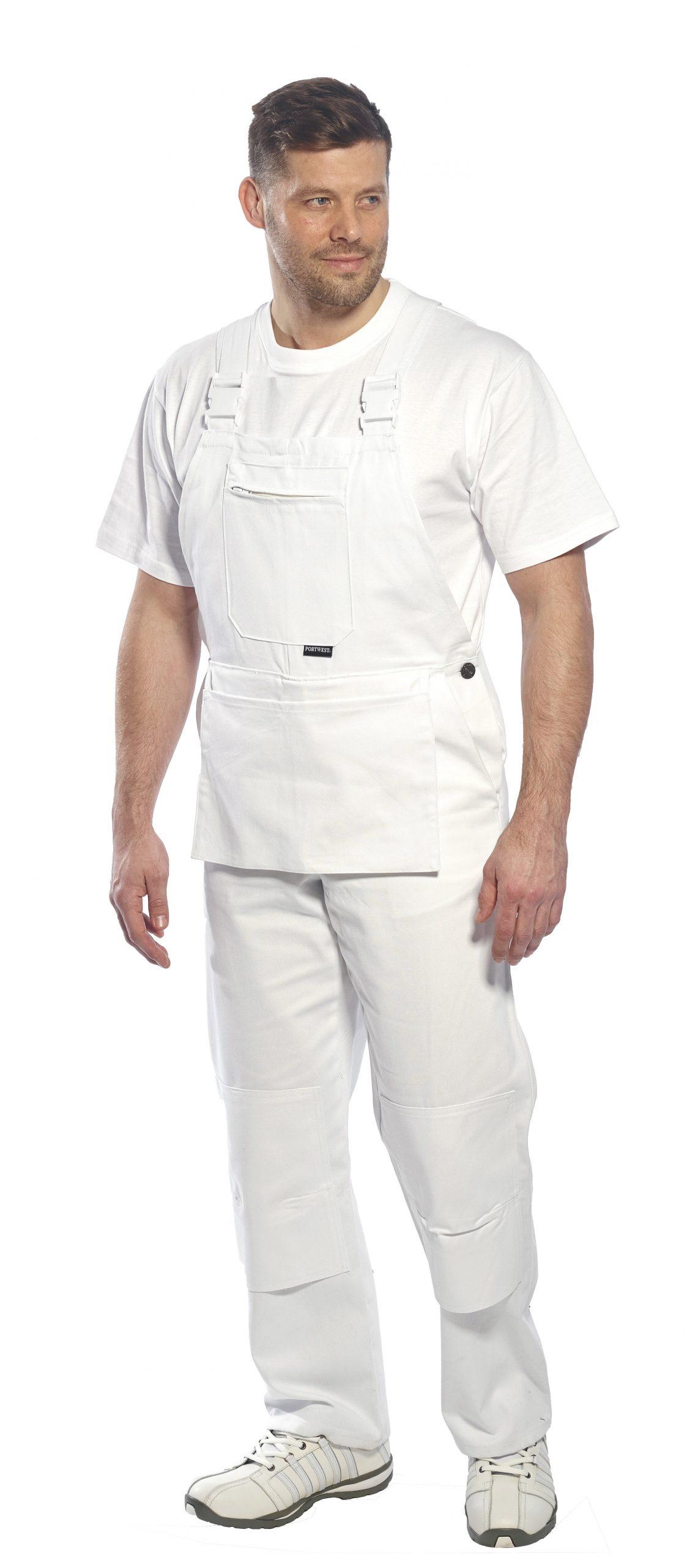 Portwest S810 Bolton Painters Bib Overall White Regular Sizes XS-4XL