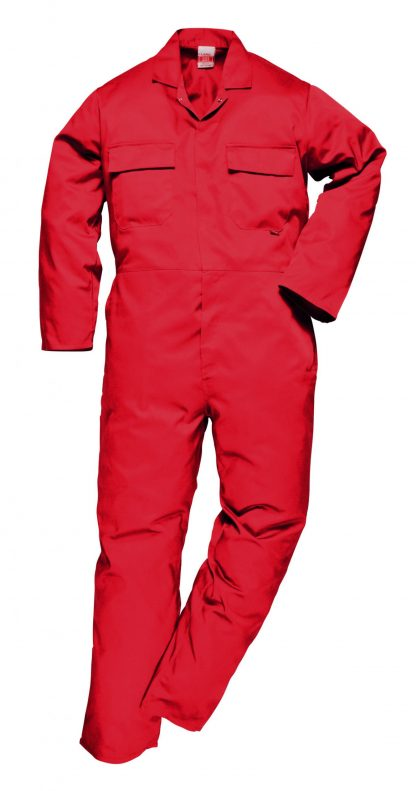 Portwest S999 Euro Work Polycotton Coverall, Red, Tall, Front