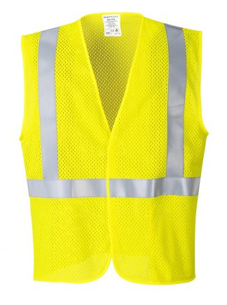 Portwest UMV21 Arc Rated Fire Resistant Mesh Safety Vest, Yellow Front