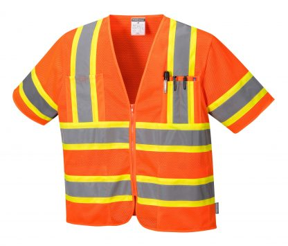 Portwest US383 ANSI Type R Class 3 High Visibility Safety Vest, Orange, Front