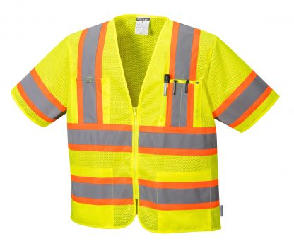 Portwest US383 ANSI Type R Class 3 High Visibility Safety Vest, Yellow, Front