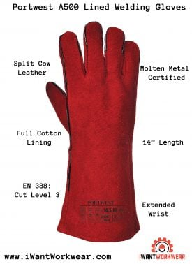 Portwest A500 Lined Welding Gloves