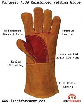 Portwest A530 Reinforced Welding Gloves, Iwantworkwear Infographic