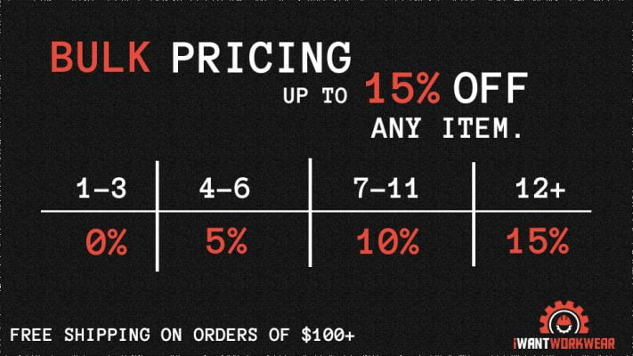 Bulk pricing up to 15% off any item