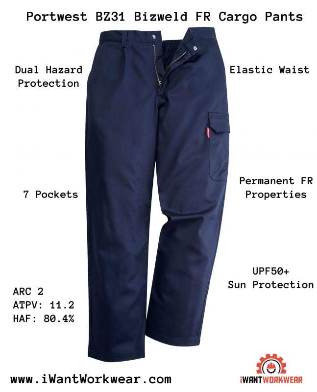portwest BZ31 Bizweld FR Cargo Pants, iwantworkwear infographic
