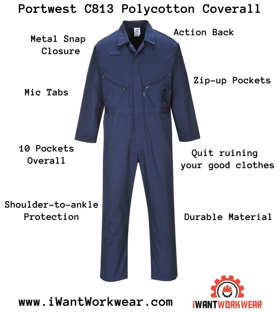 Portwest LIVERPOOL ZIPPER COVERALL - C813, iwantworkwear infographic