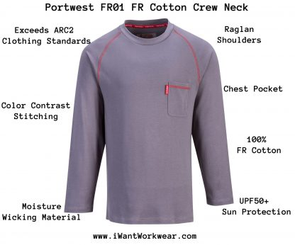 Portwest FR01 Bizflame FR Crew Neck, Gray, Front, infographic