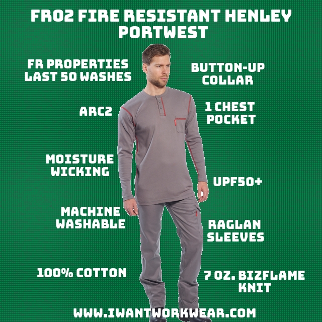 100% 7oz. FR-treated Cotton FR properties diminish after 50 washes Raglan sleeves significantly improve the fit of the shirt Moisture-wicking to prevent sweat Stylish contrast-colored stitching Feels like a regular (non-fr) shirt 1x – Chest pocket