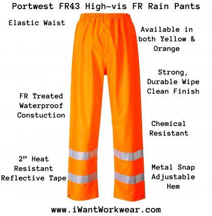 Portwest FR43 High Visability FR Rain Pants Infographic