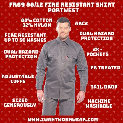 Protects against both chemical and fire hazards Chemically treated FR lasts lifetime of garment (50 washes) Protects against radiant and convective heat. 2x - Chest pockets with flap and button closure High cotton content makes shirt significantly more comfortable than traditional FR workwear Adjustable button cuffs Bottom of shirt (tail) is extended to make it easier to tuck shirt into pants and offer greater coverage area
