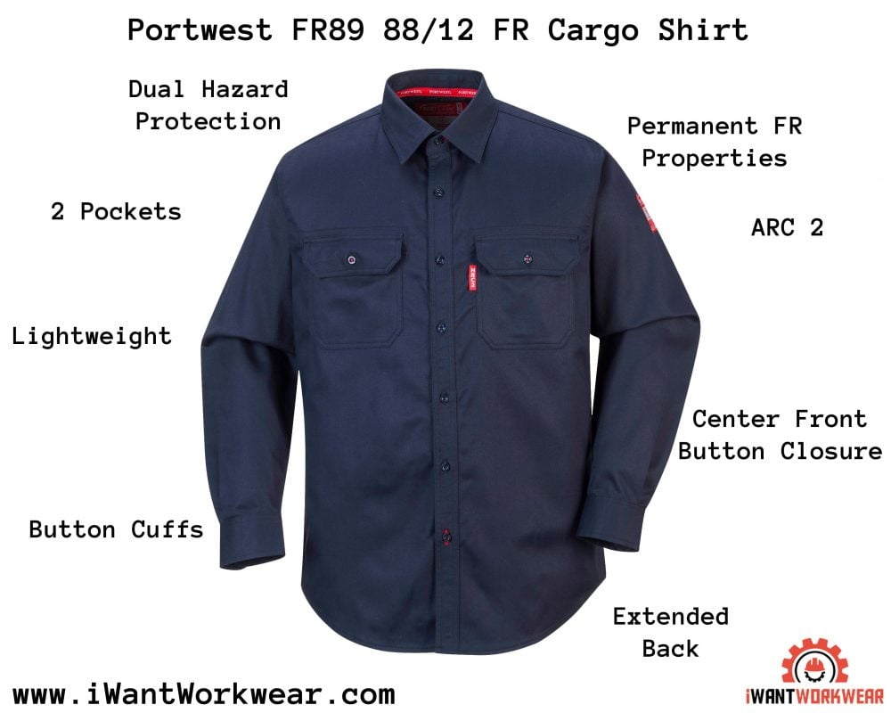 Portwest FR89 88/12 FR Cargo Shirt, Infographic