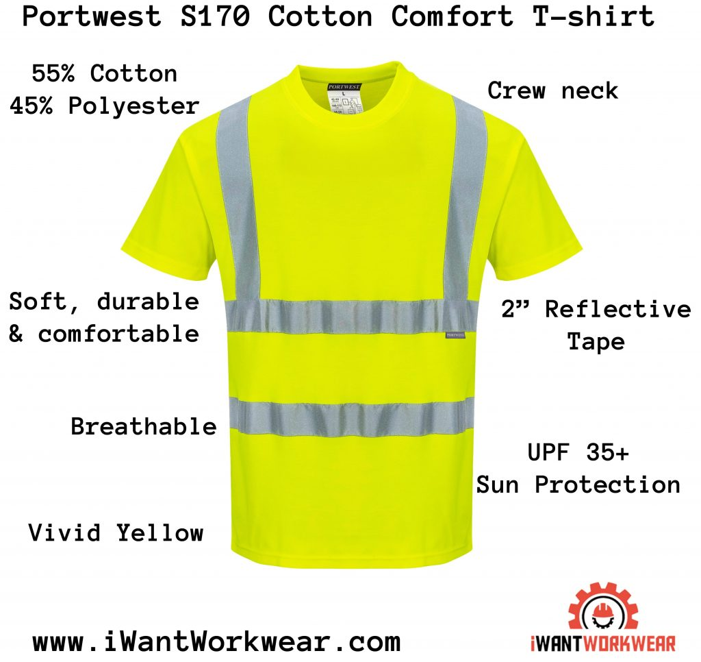 Portwest S170 Cotton Comfort T-shirt, iwantworkwear infographic