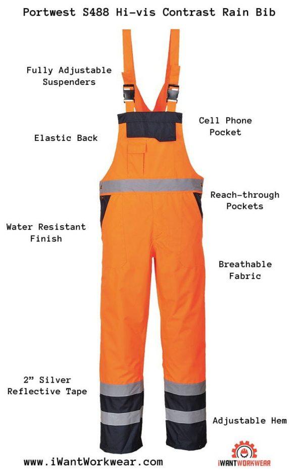 Portwest S488 Contrast Rain Bib, Iwantworkwear Infographic