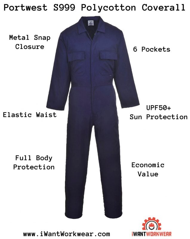 Portwest S999 Euro Work Polycotton Coverall, iWantworkwear Infographic