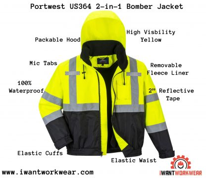 Portwest US364 2-in-1 bobmer jacket, iwantworkwear infographic