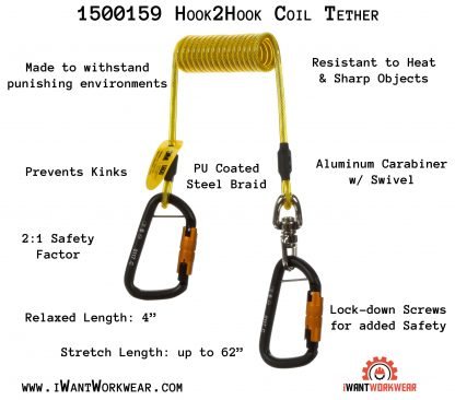 1500159 hook2hook coil tether, iwantworkwear infographic