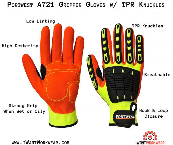 Portwest A721 High impact gripper gloves w/ tpr knuckles www.iwantworkwear.com infographic