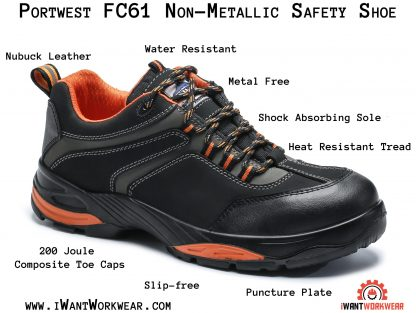 Portwest FC61 Composite Work Shoes. iwantworkwear.com infographic