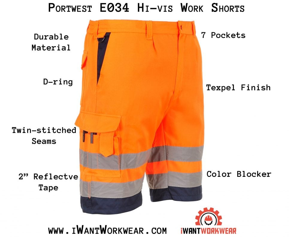 Portwest ANSI Class E High Visibility Shorts, Orange Infographic