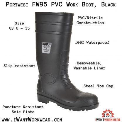 Portwest FW95 PVC Work Boot, Black, iwantworkwear.com infographic