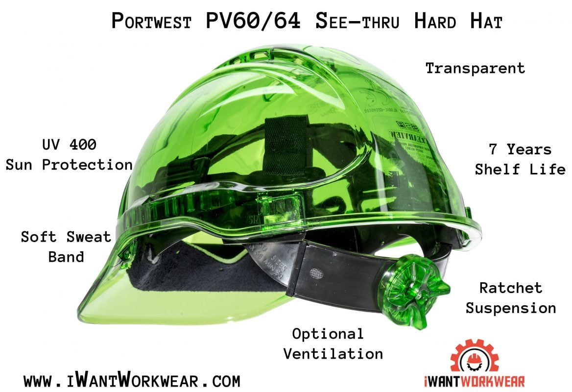 PEAK VIEW RATCHET HARD HAT VENTED - PV60, Green Infographic