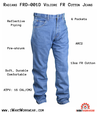 FRD-001D VolCore™ Cotton Denim FR Blue Jeans AR FRNFPACAT2 FRD-001D VOLCORE™ COTTON DENIM FR BLUE JEANS, front, iwantworkwear.com infographic