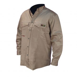 FRS-001 VOLCORE™ LONG SLEEVE BUTTON DOWN FR SHIRT, Front Khaki