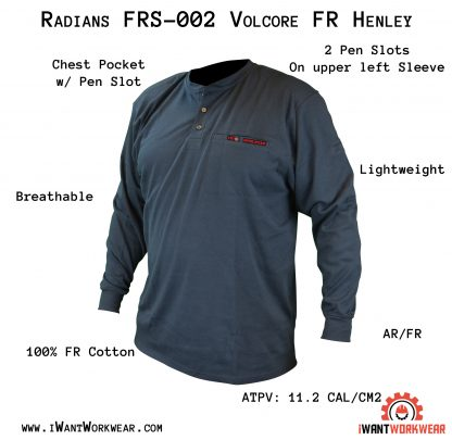 FRS-002 VOLCORE™ LONG SLEEVE COTTON HENLEY FR SHIRT, Navy Blue, Front, iwantworkwear.com infographic