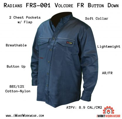 FRS-001 VOLCORE™ LONG SLEEVE BUTTON DOWN FR SHIRT, Front Blue Iwantworkwaer infographic