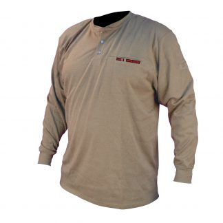 FRS-002 VOLCORE™ LONG SLEEVE COTTON HENLEY FR SHIRT, Khaki, Front