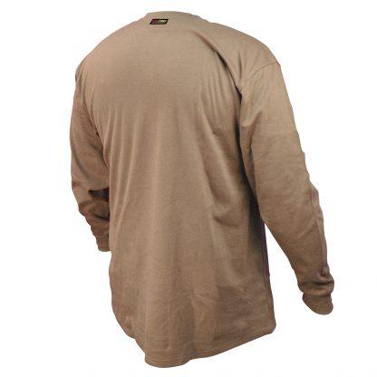 FRS-002 VOLCORE™ LONG SLEEVE COTTON HENLEY FR SHIRT, Khaki, Back