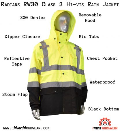 Radians RW30 Class 3 High Visibility Rain Jacket