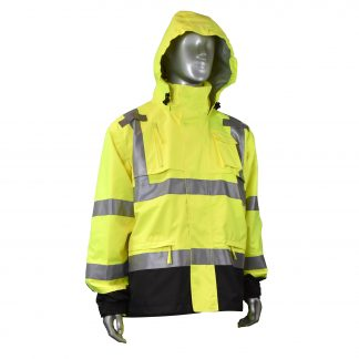 RADIANS RW32-3Z1Y HEAVY DUTY RIP STOP WATERPROOF RAIN JACKET, front