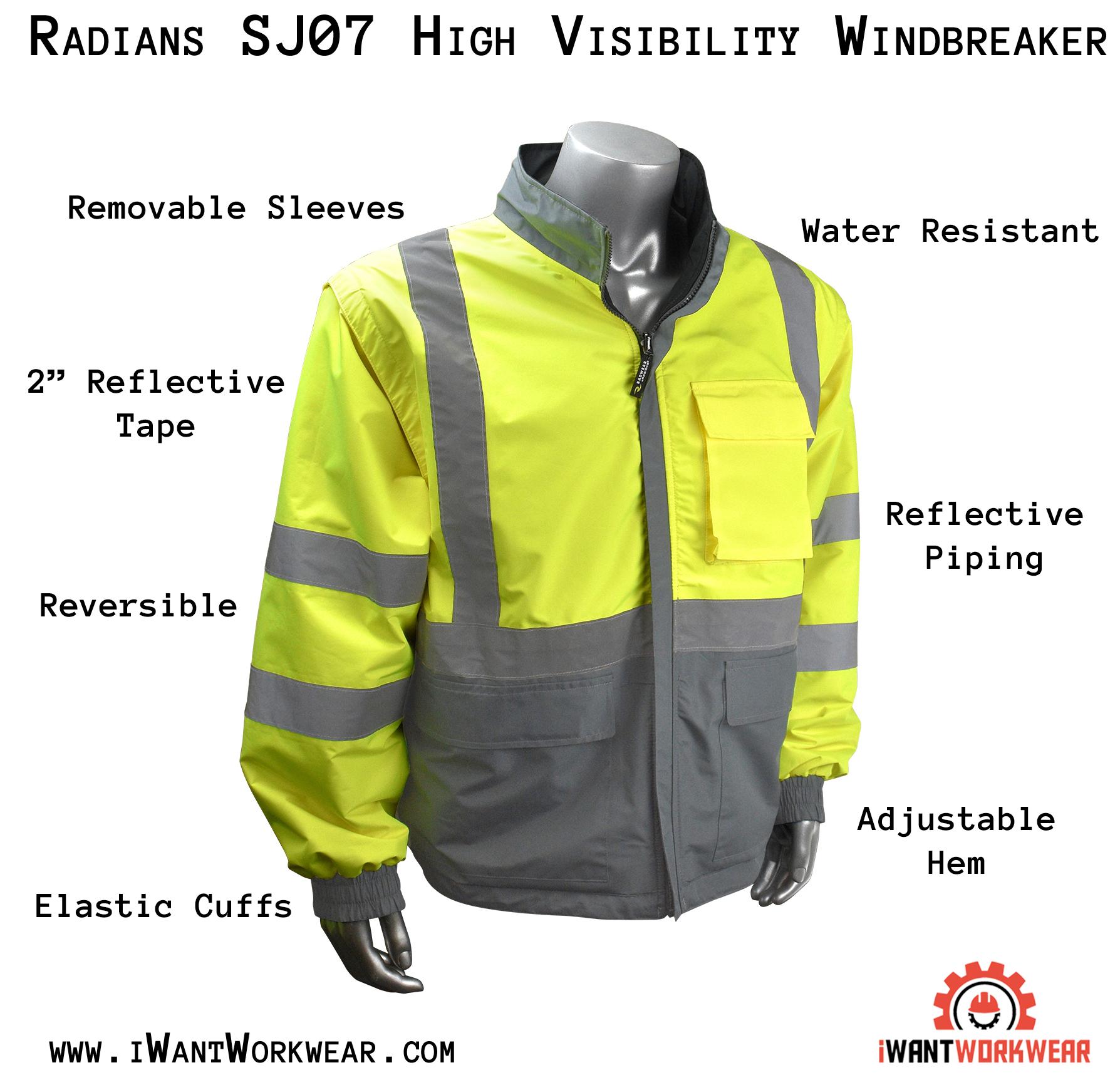 570bd7af8 Radians SJ07 Men's 4-in-1 Safety Jacket, Black Bottom — iWantWorkwear