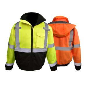 SJ11QB CLASS3 HI-VIZ WEATHER PROOF BOMBER JACKET WITH QUILTED BUILT-IN LINER, yellow and orange