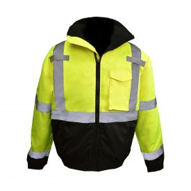 SJ11QB CLASS3 HI-VIZ WEATHER PROOF BOMBER JACKET WITH QUILTED BUILT-IN LINER, yellow front